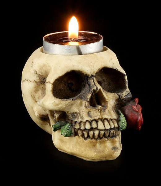 Tealight Holder - Skull with Rose