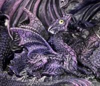 Drachen Figur - Mutter mit Drachen Kind - lila