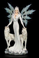 Large Fairy Figurine - Maylea with two white Wolves