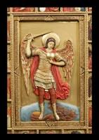 Wandrelief Ikone - Heiliger Erzengel Michael - bunt