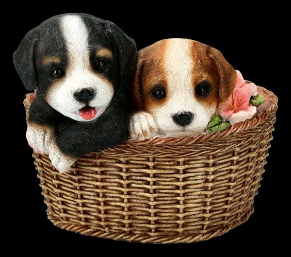 Gartenfigur - Hunde im Korb