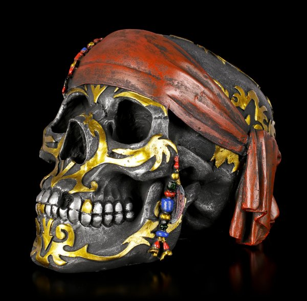 Black Pirate Skull with Tribals