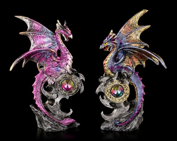 Dragon Figurines with Gemstones Set of 2 - Realm Protectors