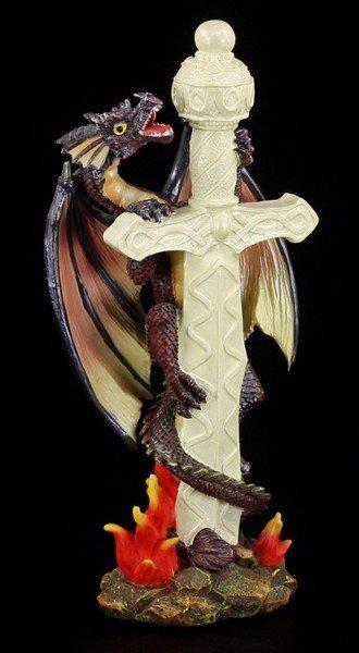 Drachen Figur - Kletternd an weißem Schwert
