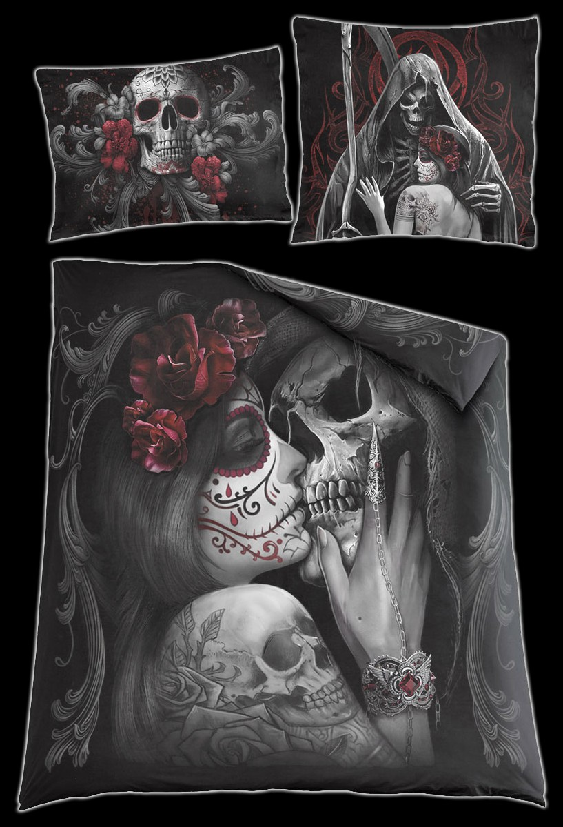 Totenkopf Doppel Bettwäsche Skull Roses Bettwäsche Bettwäsche