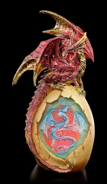 Drachen Figur auf Ei mit LED Beleuchtung