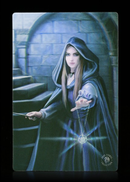 3D Postcard with Female Sorcerer - Light in the Darkness