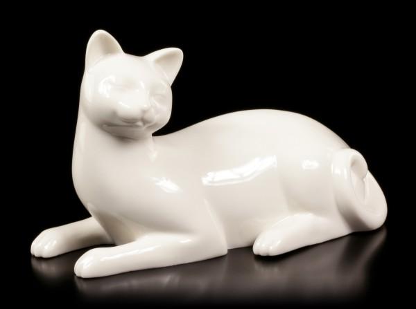 Porzellan Katze - Liegend