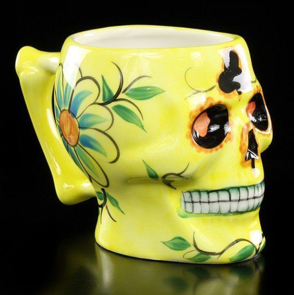 Skull Mug - Day of the Dead - yellow