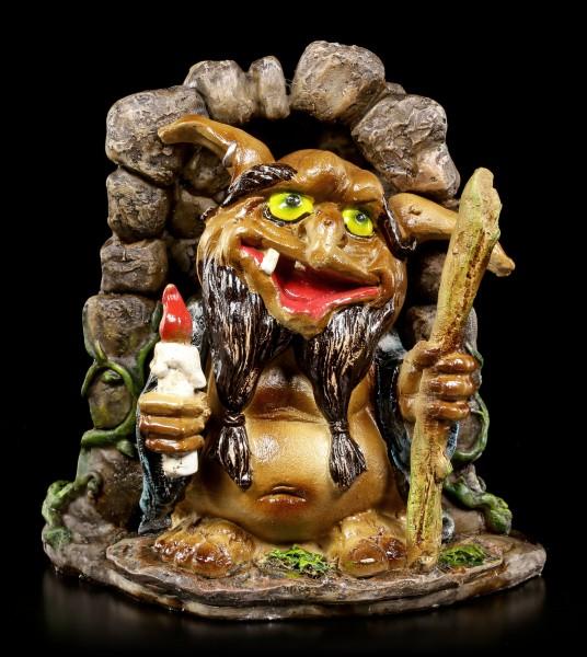 Troll Figur - Sollix in Höhle mit Kerze und Stock
