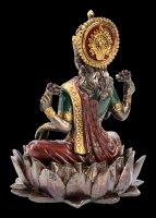Lakshmi Figur auf Lotusblüte bronzefarben