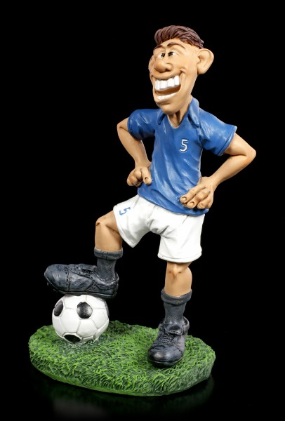 Funny Sports Figurine - Footballer in blue Jersey