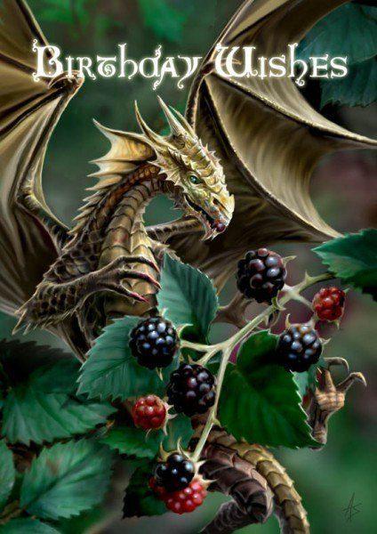Fantasy Birthday Card - Blackberry Dragon
