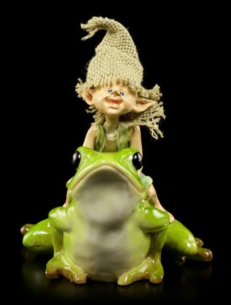 Pixie Goblin Figurine on Frog - And hopp ....!
