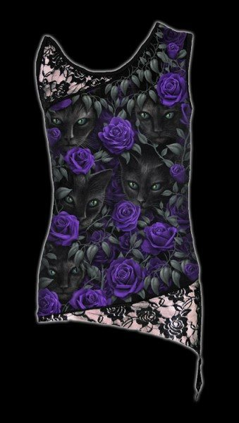Netz Shirt Gothic - Katzen & Rosen - The Watchers