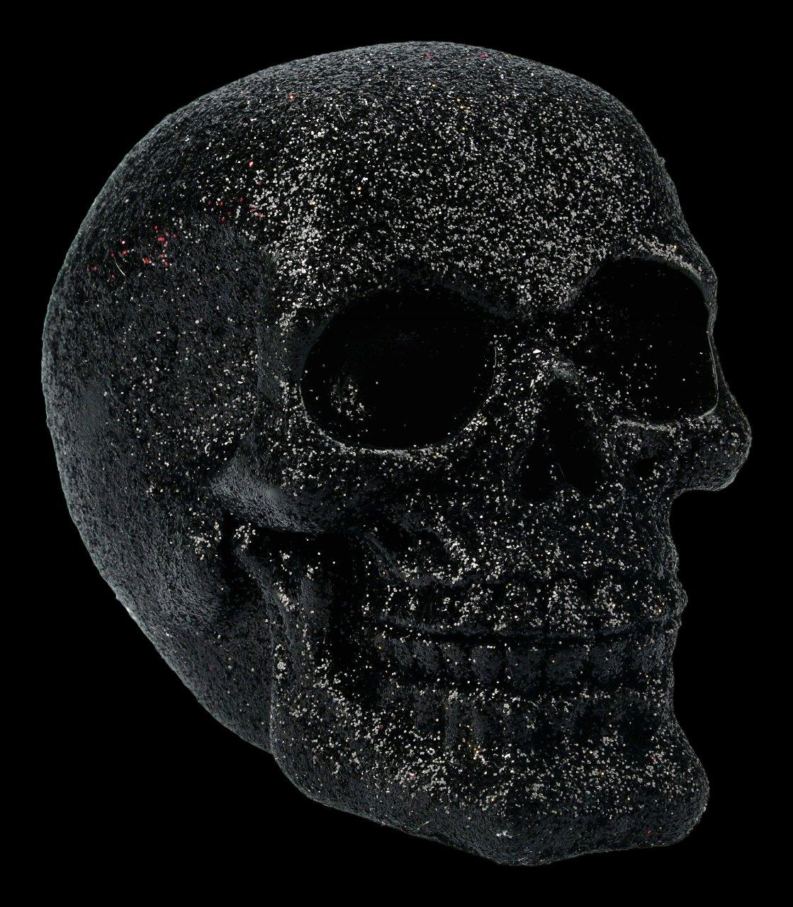 Skull - glitter black