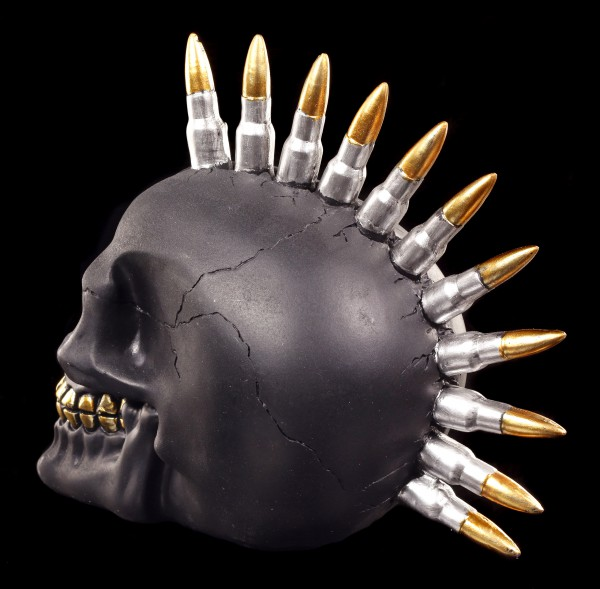 Skull with Bullet Mohawk - Black Bullet