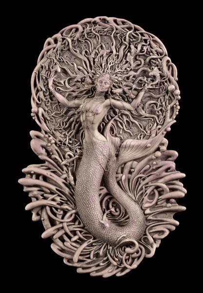 Wandrelief - Keltische Göttin Aine als Meerjungfrau - Matt