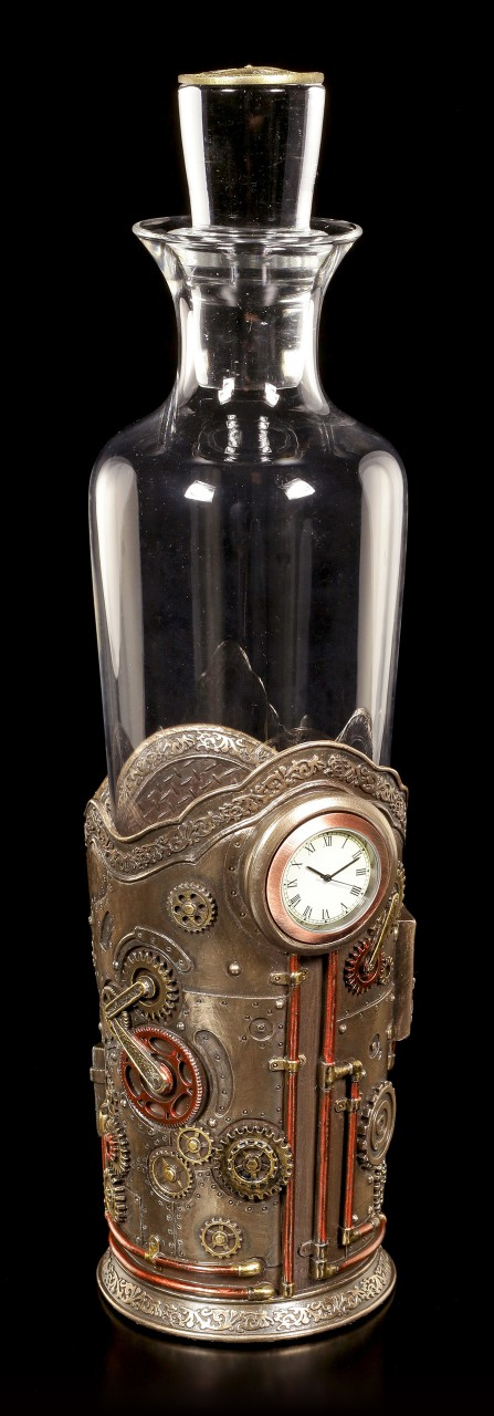Steampunk Bottle Holder with Clock