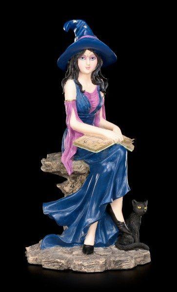 Hexen Figur - Selene mit Zauberbuch und schwarzer Katze