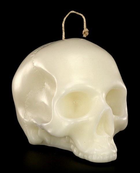 Totenkopf Kerze Groß - Weiß