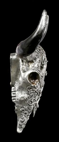 Wandrelief Stier Schädel - Drachenmotiv silberfarben