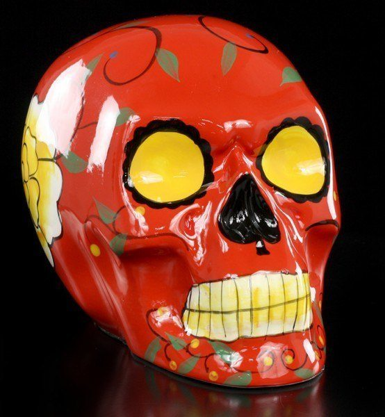 Day of the Dead Skull - Ceramic red