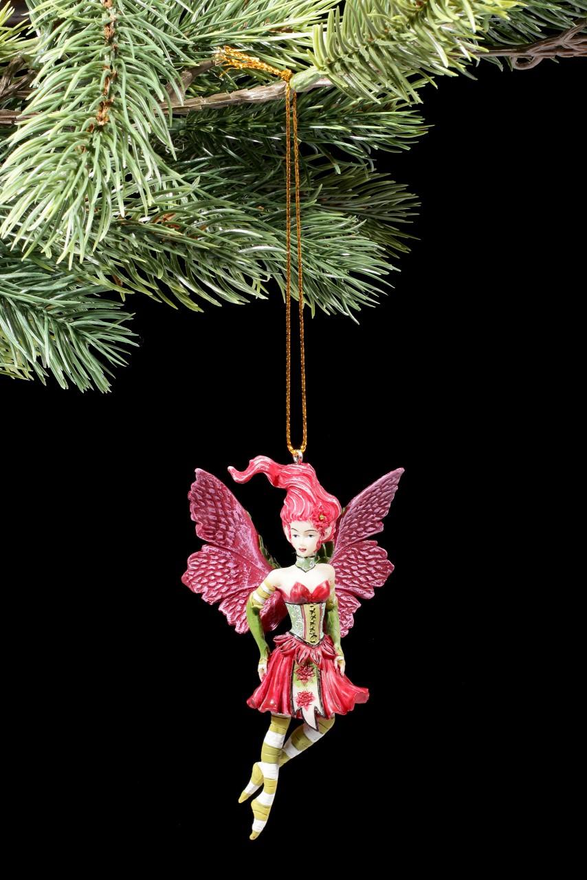 Christbaum-Schmuck - Weihnachtsstern Elfe mit gelben Strümpfen
