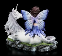 Elfen Figur - Blaustern sitzt auf Einhorn