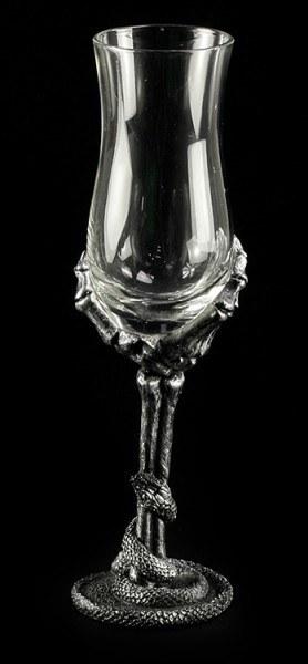 Schnapsglas - Skeletthand mit Schlange