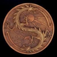 Alchemisten Wandrelief - Doppeldrache - Terrakottafarben
