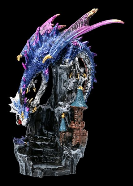 Dragon Figurine with Castle - Blue Terror