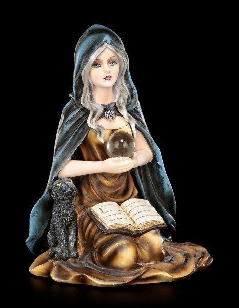 Hexen Figur - Misty mit schwarzer Katze und Zauberbuch