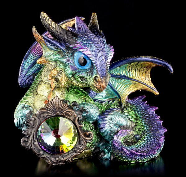 Dragon Figurine blue - Azuron with Crystal