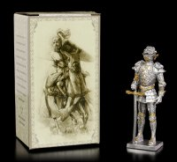 Zinn Ritter Figur mit Drachenhelm