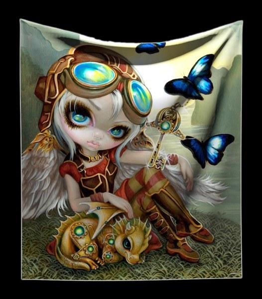 Kuschelige Decke mit Elfe - Clockwork Dragonling