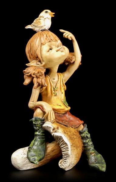 """Pixie Figur - Mädchen mit Vogel """"Komm her..."""""""