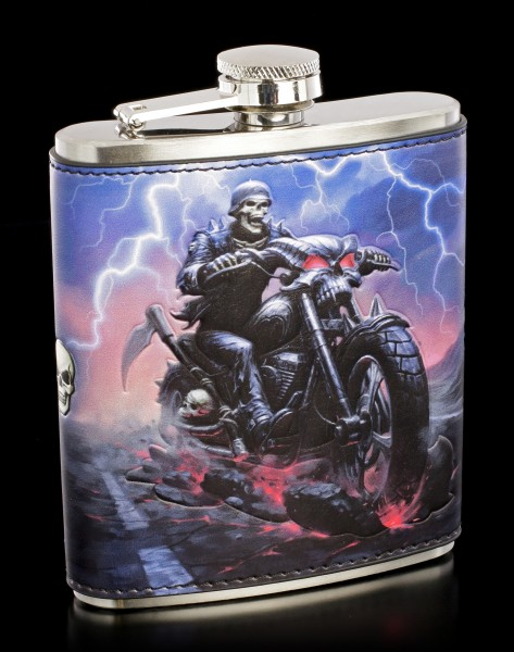 Hip Flask with Reaper - Hell on the Highway