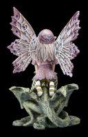 Elfen Figur - Kleine Fee auf Steindrache