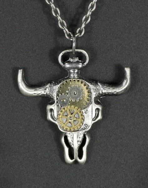 Halskette - Steampunk Büffel Schädel