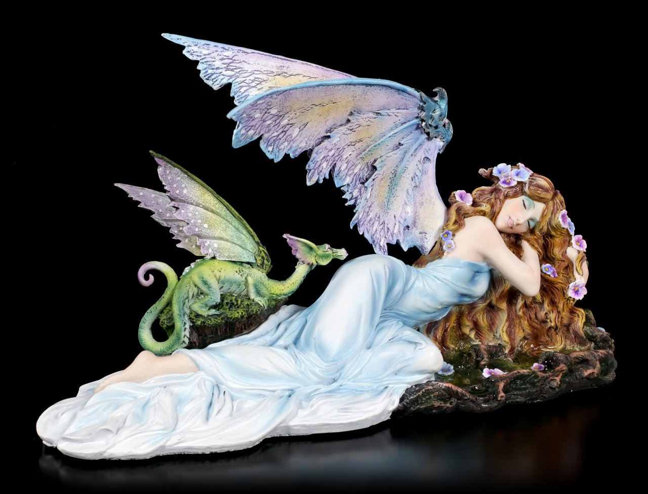 Fairy Figurine - Shila with green Dragon