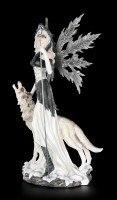 Elfen Figur mit Wolf - Wächter des Mondes groß
