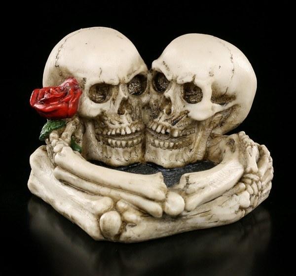 Totenkopf Aschenbecher - Verliebte Skelette