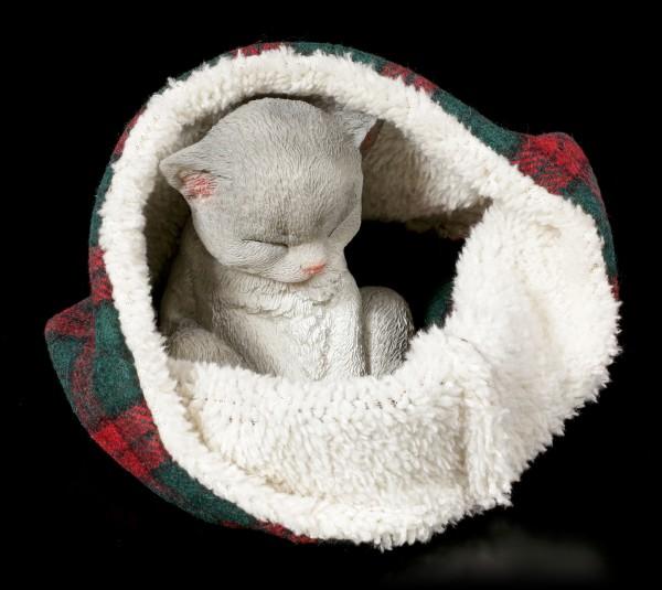 Cat Figurine asleep wrapped in Blanket