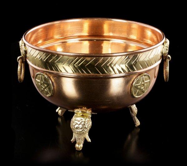 Ritual Schale aus Kupfer - Pentagramm groß