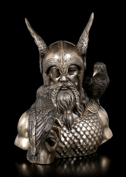 Odin Bust with two Raven