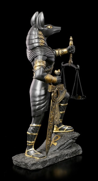 Anubis Warrior Figurine with Scale - Black-Gold
