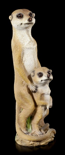 Garden Figurine - Female Meerkat with Child