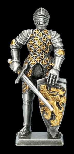 Pewter Knight Figurine with Sword Lion Shield
