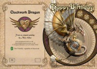 Birthday Card Steampunk - Clockwork Dragon